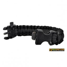 BLACK paracord bracelet with whistle and firesteel R09348