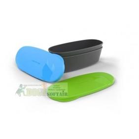 SNAPBOX OVAL 2 contenitori con coperchio verde e azzurro light