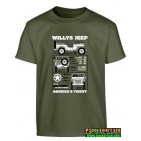 T-shirt bambino Willys Jeep - verde oliva