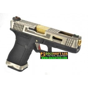 WE modello glock G17 Custom G FORCE series black, silver slide PISTOLA SOFTAIR A GAS